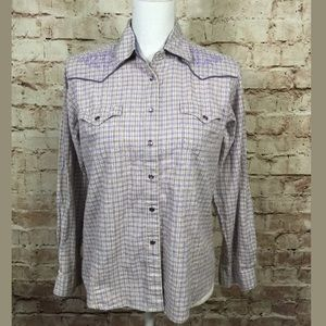 Wrangler Tops - Small Purple Plaid Pearl Snap Shirt Embroidered